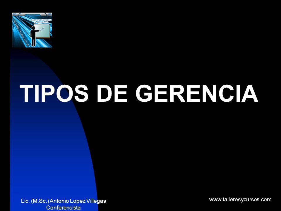 Lic. (M.Sc.) Antonio Lopez Villegas Conferencista www.talleresycursos.com significa cosas diferentes para personas diferentes. Algunos lo identifican