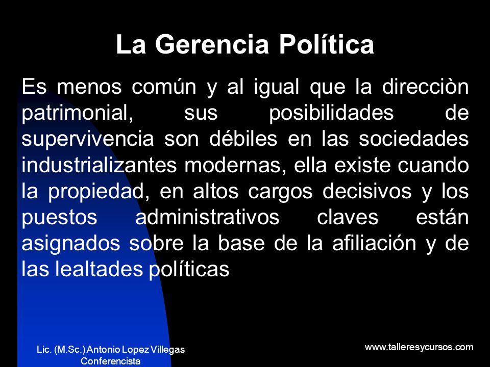 Lic. (M.Sc.) Antonio Lopez Villegas Conferencista www.talleresycursos.com TIPOS DE GERENCIA