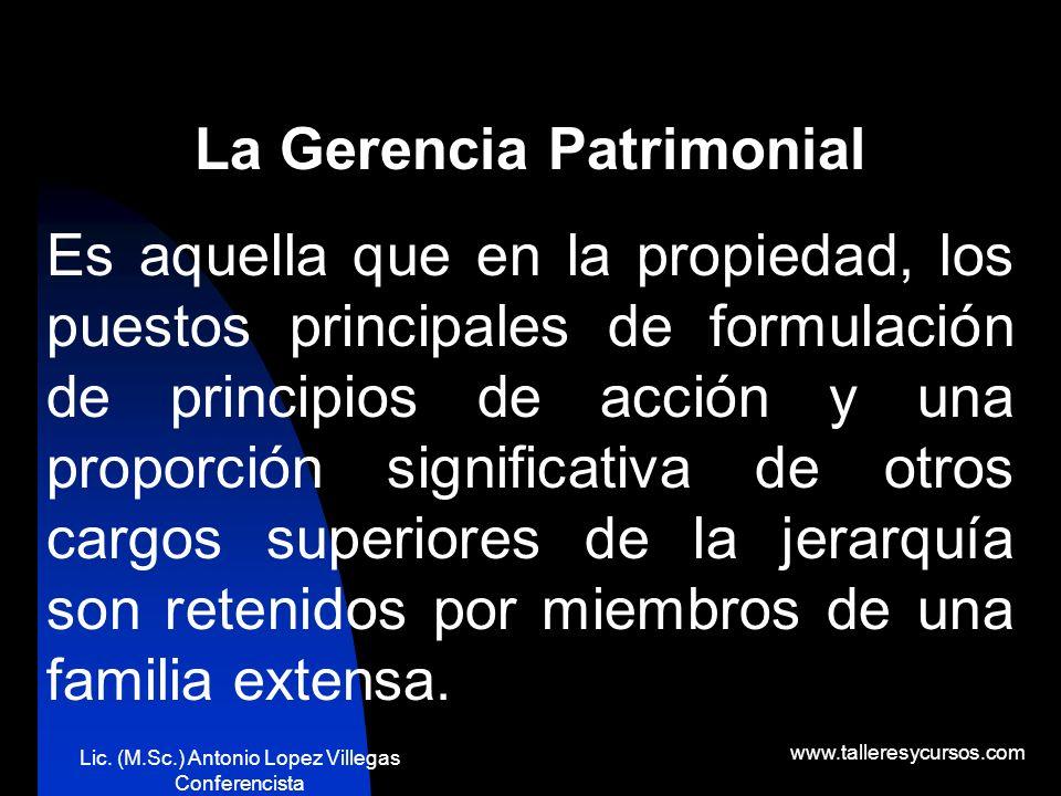 Lic. (M.Sc.) Antonio Lopez Villegas Conferencista www.talleresycursos.com La Gerencia por Objetivos Se define como el punto final (o meta) hacia el cu