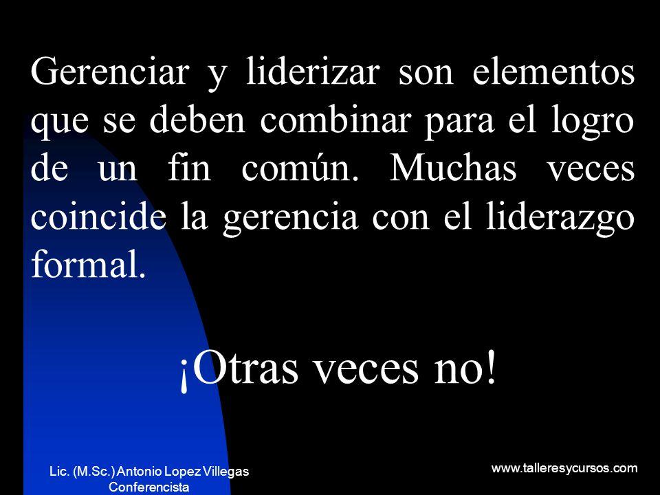 Lic. (M.Sc.) Antonio Lopez Villegas Conferencista www.talleresycursos.com OBJETIVOS DE LA GERENCIA Algunos de los objetivos son: 1. 1. Posición en el