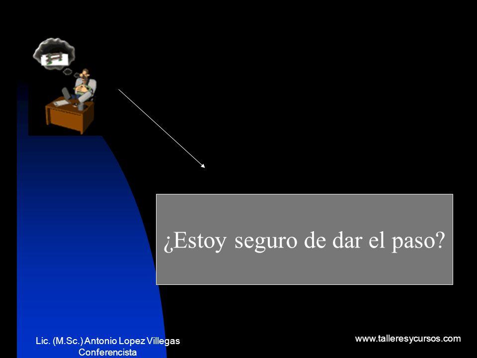 Lic. (M.Sc.) Antonio Lopez Villegas Conferencista www.talleresycursos.com ¿DEBO DAR ESE PASO?