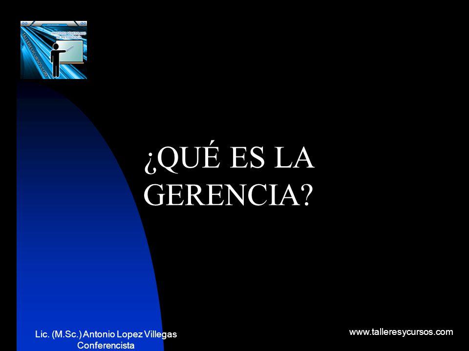 Lic. (M.Sc.) Antonio Lopez Villegas Conferencista www.talleresycursos.com !Es mas facil trabajar por un salario que gerenciar un negocio!