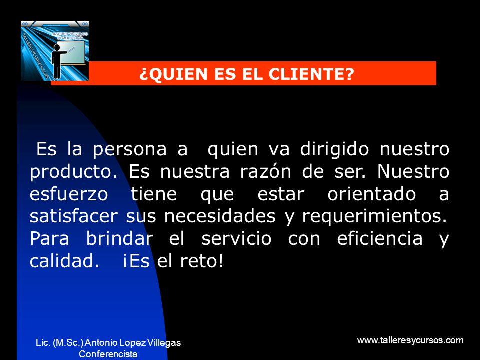 Lic. (M.Sc.) Antonio Lopez Villegas Conferencista www.talleresycursos.com ORIENTACION AL CLIENTE Generar empatía-confianza. Antes de la visita: Saber