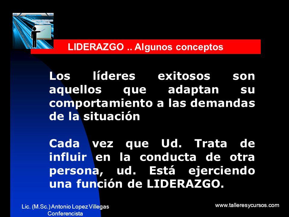 Lic. (M.Sc.) Antonio Lopez Villegas Conferencista www.talleresycursos.com ¿QUE ES LIDERAZGO? Patrón de conducta que se utiliza cuando está tratando de
