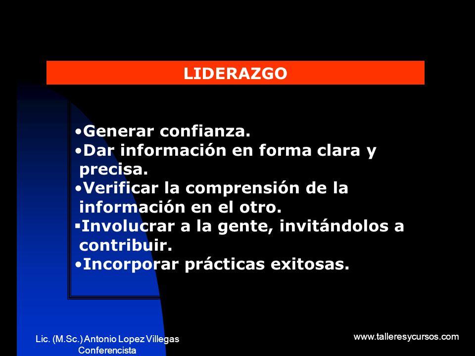 Lic. (M.Sc.) Antonio Lopez Villegas Conferencista www.talleresycursos.com LIDERAZGO.. Algunos conceptos Los líderes exitosos son aquellos que adaptan