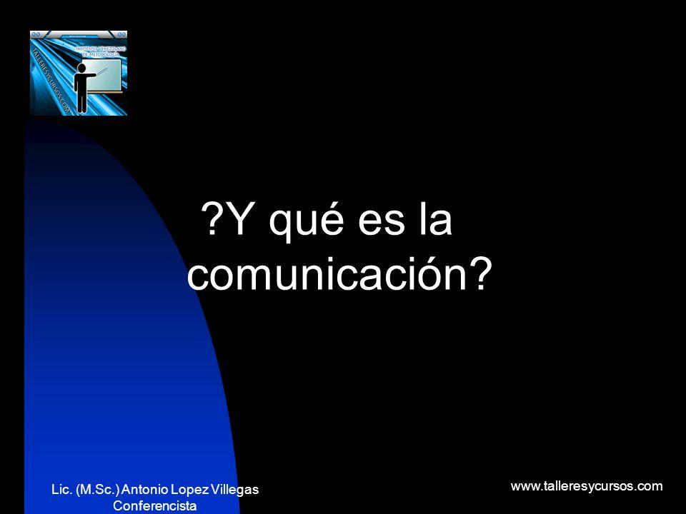 Lic. (M.Sc.) Antonio Lopez Villegas Conferencista www.talleresycursos.com Las habilidades expositivas de comunicación juegan un papel muy importante,