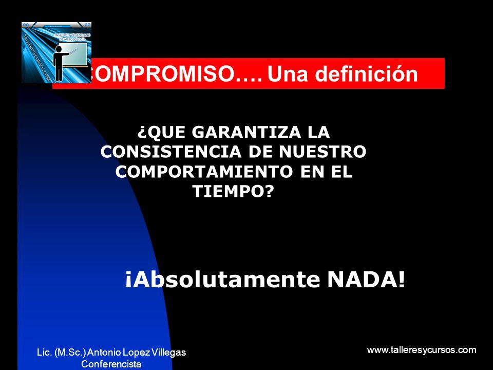 Lic. (M.Sc.) Antonio Lopez Villegas Conferencista www.talleresycursos.com ¿CUÁLES SERAN LAS RAZONES QUE INCIDEN EN LA INCONSISTENCIA DE NUESTROS COMPR