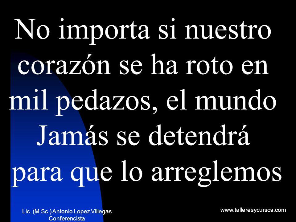 Lic. (M.Sc.) Antonio Lopez Villegas Conferencista www.talleresycursos.com No permitamos nunca que nadie arruine nuestros sueños