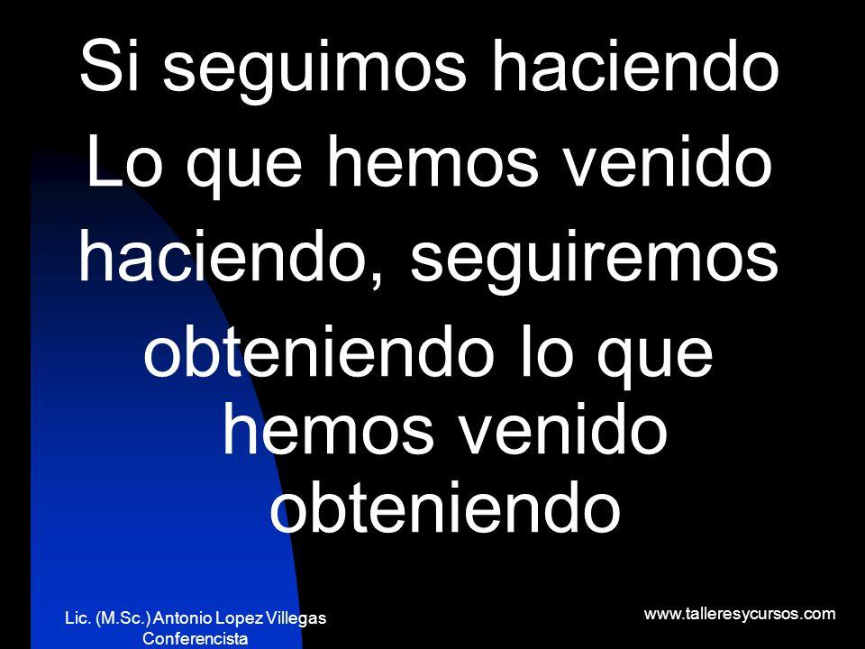 Lic. (M.Sc.) Antonio Lopez Villegas Conferencista www.talleresycursos.com No importa si nuestro corazón se ha roto en mil pedazos, el mundo Jamás se d