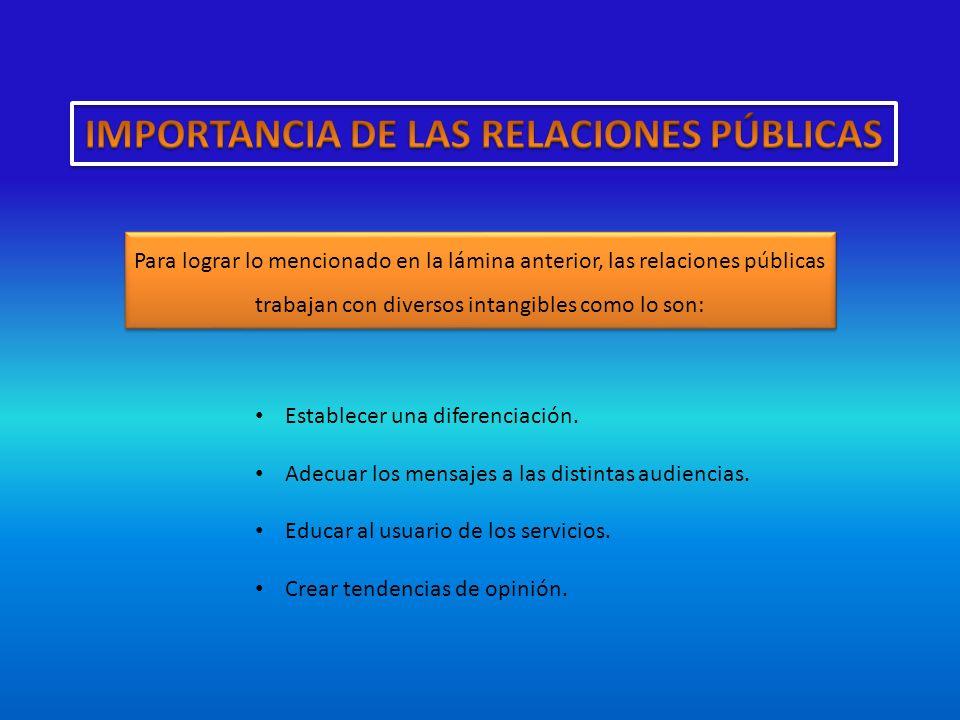 Para lograr lo mencionado en la lámina anterior, las relaciones públicas trabajan con diversos intangibles como lo son: Establecer una diferenciación.
