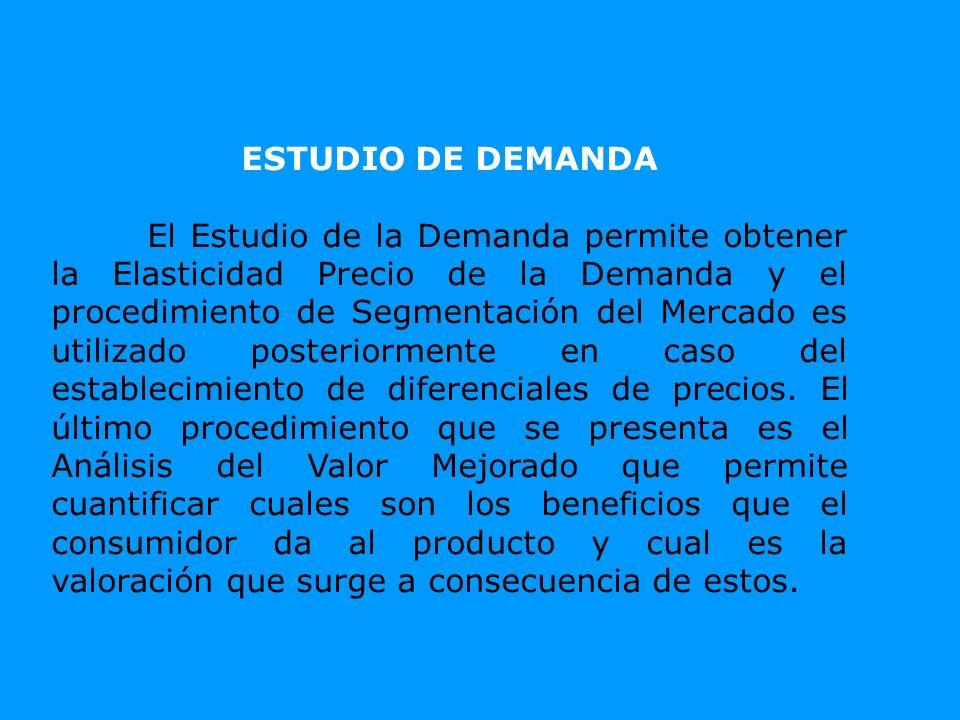 ESTUDIO DE DEMANDA El Estudio de la Demanda permite obtener la Elasticidad Precio de la Demanda y el procedimiento de Segmentación del Mercado es util