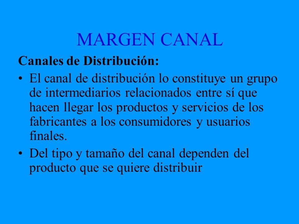 MARGEN CANAL Canales de Distribución: El canal de distribución lo constituye un grupo de intermediarios relacionados entre sí que hacen llegar los pro