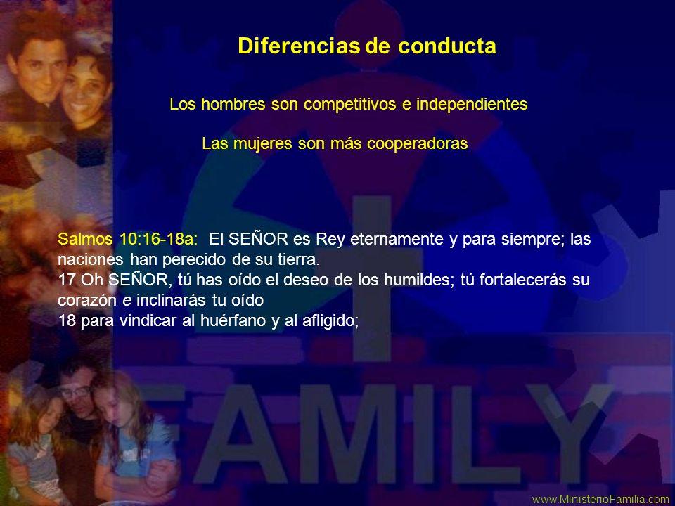 www.MinisterioFamilia.com Las mujeres son más cooperadoras Salmos 10:16-18a: El SEÑOR es Rey eternamente y para siempre; las naciones han perecido de