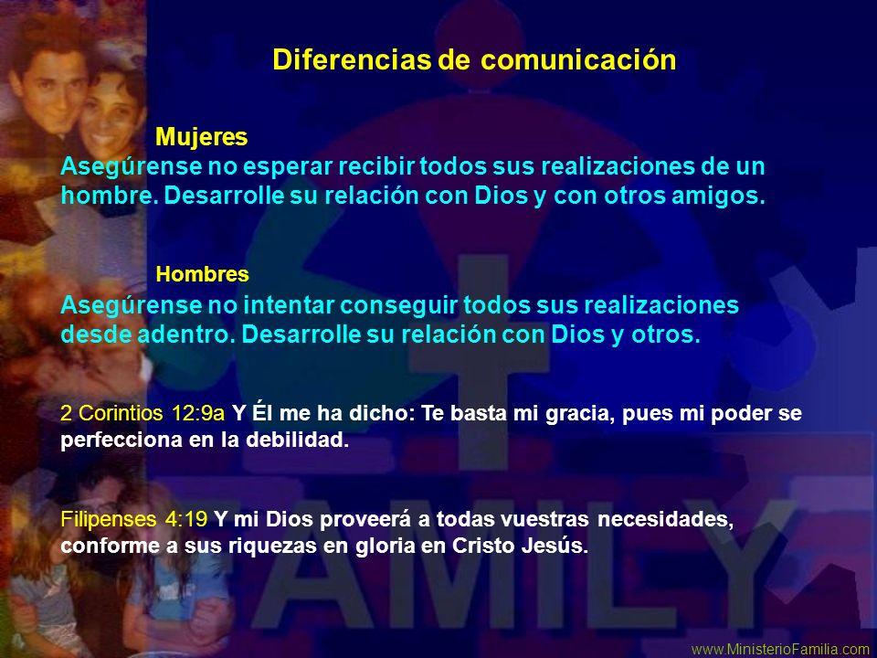 www.MinisterioFamilia.com Asegúrense no esperar recibir todos sus realizaciones de un hombre. Desarrolle su relación con Dios y con otros amigos. Aseg