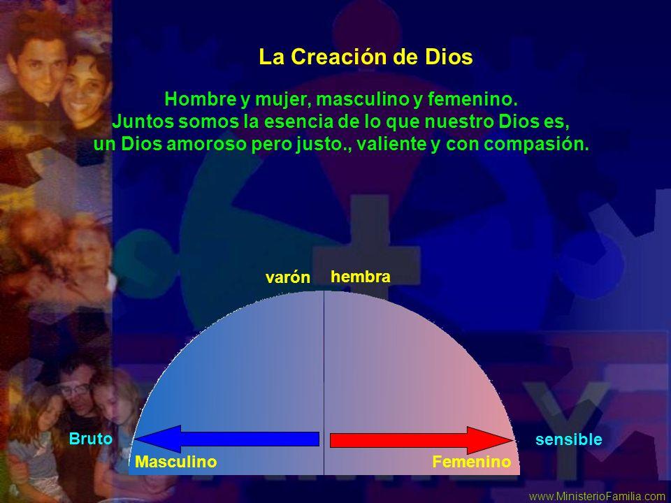 www.MinisterioFamilia.com Hombre y mujer, masculino y femenino. Juntos somos la esencia de lo que nuestro Dios es, un Dios amoroso pero justo., valien