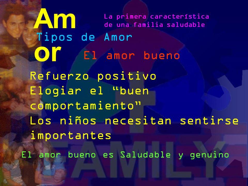 Tipos de Amor El amor malo Posesivo Excesivo Sobre protector Lleva a un desarrollo neurótico Am or La primera característica de una familia saludable