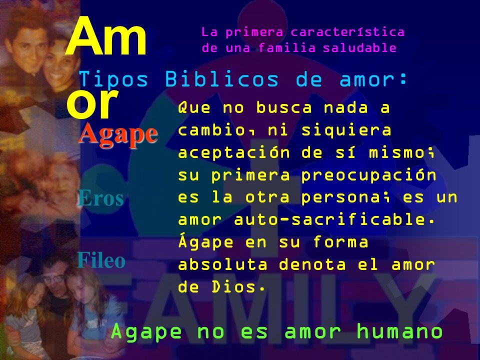 Tipos Biblicos de amor: Agape Eros Fileo Am or La primera característica de una familia saludable