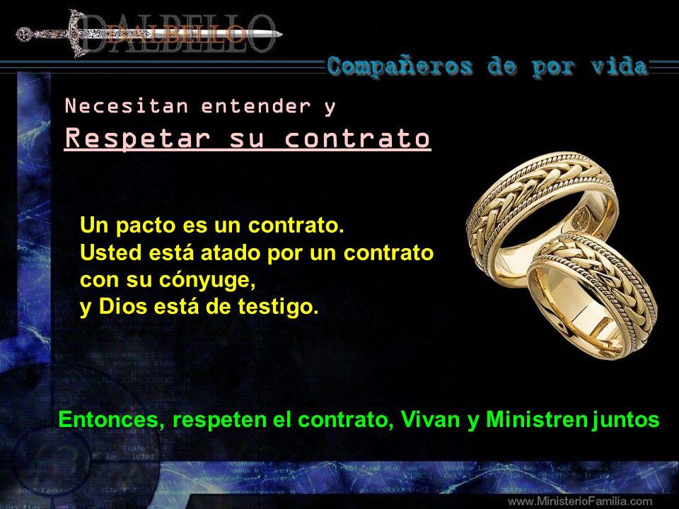 Un pacto es un contrato. Usted está atado por un contrato con su cónyuge, y Dios está de testigo. Necesitan entender y Respetar su contrato Entonces,
