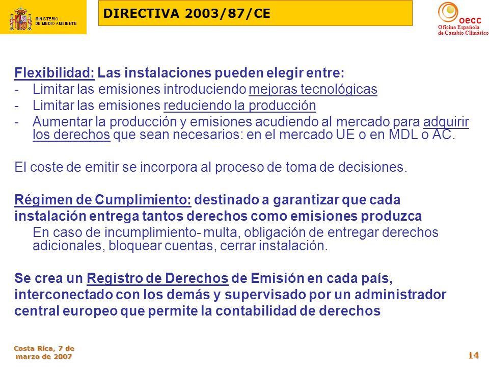 oecc Oficina Española de Cambio Climático Costa Rica, 7 de marzo de 2007 14 Flexibilidad: Las instalaciones pueden elegir entre: -Limitar las emisione