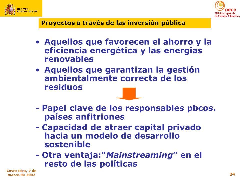 oecc Oficina Española de Cambio Climático Costa Rica, 7 de marzo de 2007 24 Aquellos que favorecen el ahorro y la eficiencia energética y las energias