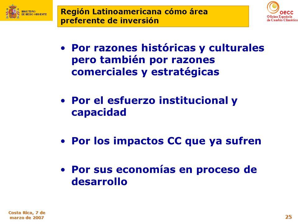 oecc Oficina Española de Cambio Climático Costa Rica, 7 de marzo de 2007 25 Por razones históricas y culturales pero también por razones comerciales y