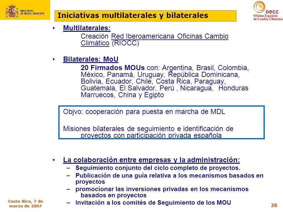 oecc Oficina Española de Cambio Climático Costa Rica, 7 de marzo de 2007 28 Otras iniciativas institucionales Multilaterales: Creación Red Iberoameric