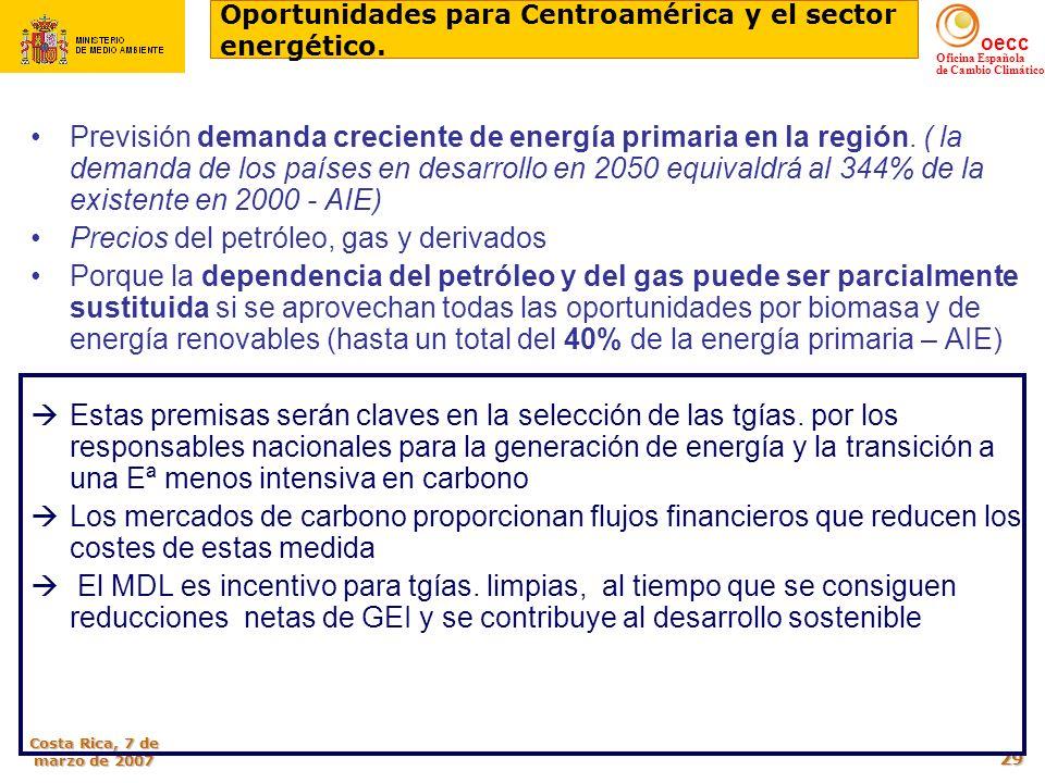 oecc Oficina Española de Cambio Climático Costa Rica, 7 de marzo de 2007 29 Previsión demanda creciente de energía primaria en la región. ( la demanda