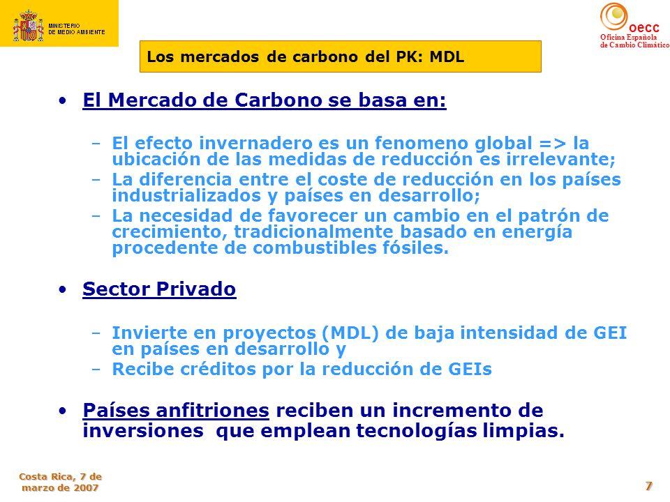 oecc Oficina Española de Cambio Climático Costa Rica, 7 de marzo de 2007 18 En 2004 el crecimiento de las emisiones se situaba en 47,87% respecto año base (33 puntos en exceso respecto al compromiso de Kioto) 2005 : baja hidraulicidad, baja generación nuclear y elevado precio del gas natural Emisiones per cápita por debajo de la media de la UE Dificultad por conjugar la CONVERGENCIA ECONÓMICA CON LA UE Y LA LIMITACIÓN DEL CRECIMIENTO DE LAS EMISIONES DE GEI ESPAÑA ANTE EL CUMPLIMIENTO DE KIOTO Cumplir el compromiso internacional de España derivado de la ratificación del Protocolo de Kioto Preservar la competitividad de la economía española y del empleo Resultar compatible con la estabilidad económica y presupuestaria Objetivos integrados en la Estrategia