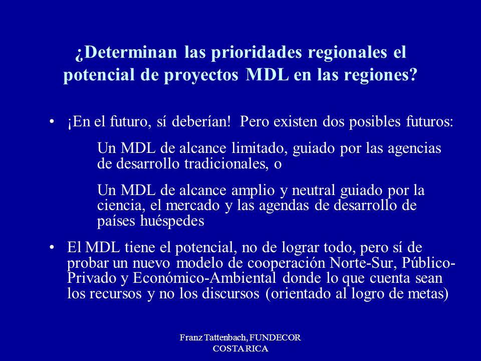 Franz Tattenbach, FUNDECOR COSTA RICA ¿Determinan las prioridades regionales el potencial de proyectos MDL en las regiones.