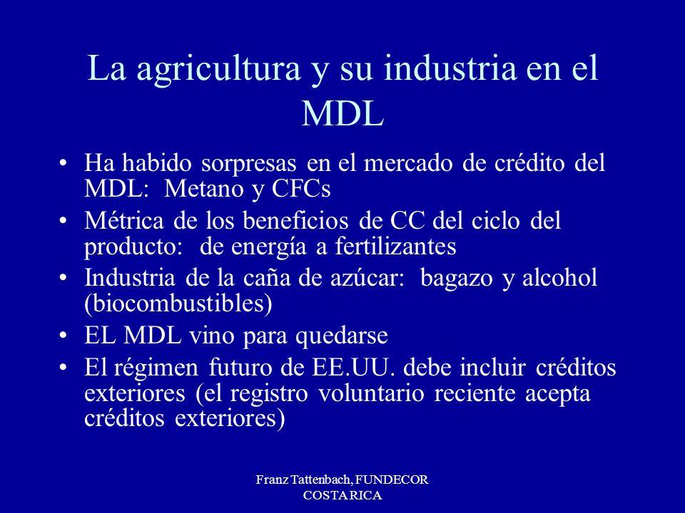 Franz Tattenbach, FUNDECOR COSTA RICA La agricultura y su industria en el MDL Ha habido sorpresas en el mercado de crédito del MDL: Metano y CFCs Métr