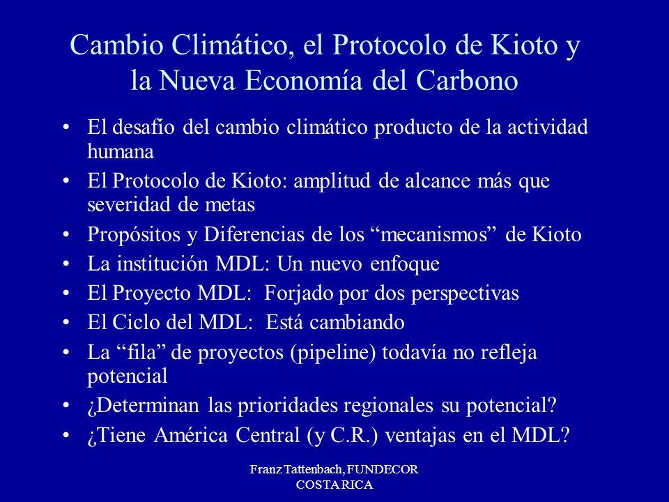 Franz Tattenbach, FUNDECOR COSTA RICA Cambio Climático, el Protocolo de Kioto y la Nueva Economía del Carbono El desafío del cambio climático producto de la actividad humana El Protocolo de Kioto: amplitud de alcance más que severidad de metas Propósitos y Diferencias de los mecanismos de Kioto La institución MDL: Un nuevo enfoque El Proyecto MDL: Forjado por dos perspectivas El Ciclo del MDL: Está cambiando La fila de proyectos (pipeline) todavía no refleja potencial ¿Determinan las prioridades regionales su potencial.