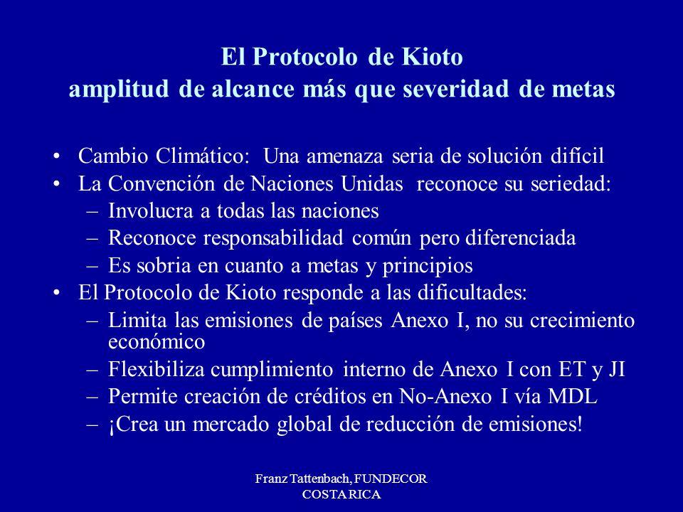 Franz Tattenbach, FUNDECOR COSTA RICA El Protocolo de Kioto amplitud de alcance más que severidad de metas Cambio Climático: Una amenaza seria de solu