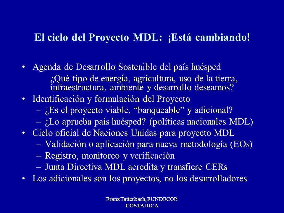 Franz Tattenbach, FUNDECOR COSTA RICA El ciclo del Proyecto MDL: ¡Está cambiando! Agenda de Desarrollo Sostenible del país huésped ¿Qué tipo de energí