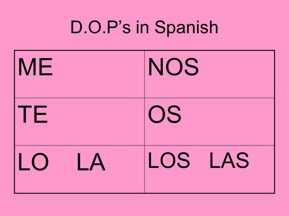 D.O.P.s with verb pairs When you have 2 verbs together in a sentence (verb pair, present progressive) you have choices where to put the pronoun.