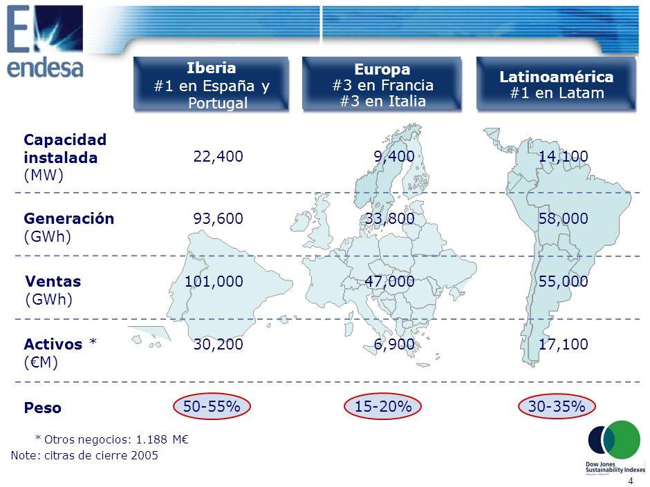 4 Iberia #1 en España y Portugal Europa #3 en Francia #3 en Italia Latinoamérica #1 en Latam 22,4009,40014,100 50-55% 15-20% 30-35% 33,80058,00093,600 47,00055,000101,000 30,2006,90017,100 Capacidad instalada (MW) Activos * (M) Peso Ventas (GWh) Generación (GWh) *Otros negocios: 1.188 M Note:citras de cierre 2005