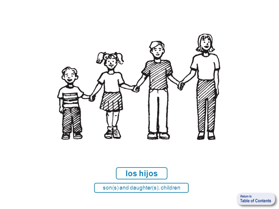 los hijos son(s) and daughter(s), children