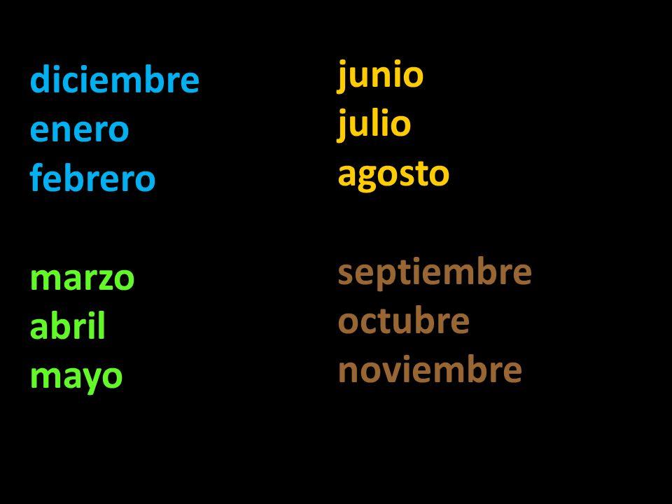diciembre enero febrero marzo abril mayo junio julio agosto septiembre octubre noviembre
