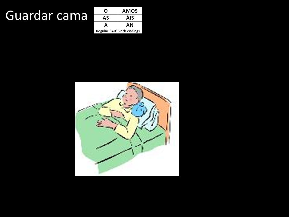 Guardar cama OAMOS ASÁIS AAN Regular AR verb endings