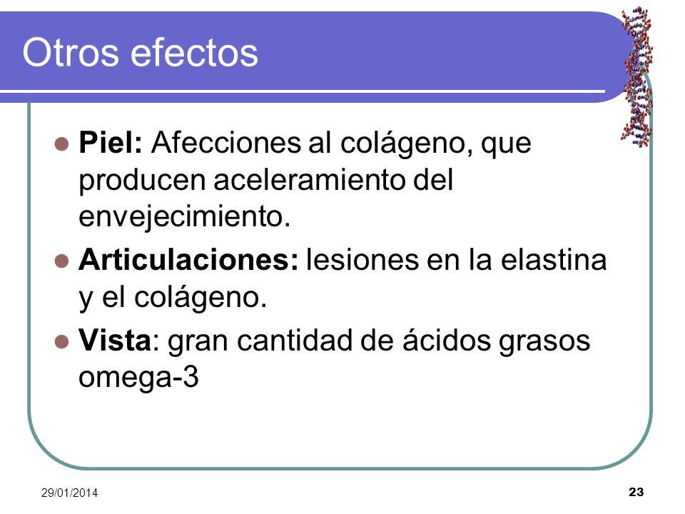 29/01/2014 23 Otros efectos Piel: Afecciones al colágeno, que producen aceleramiento del envejecimiento. Articulaciones: lesiones en la elastina y el
