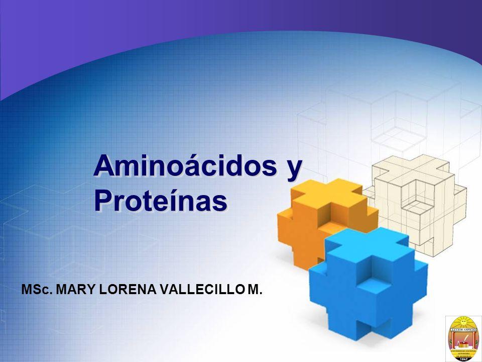 Aminoácidos y Proteínas MSc. MARY LORENA VALLECILLO M.
