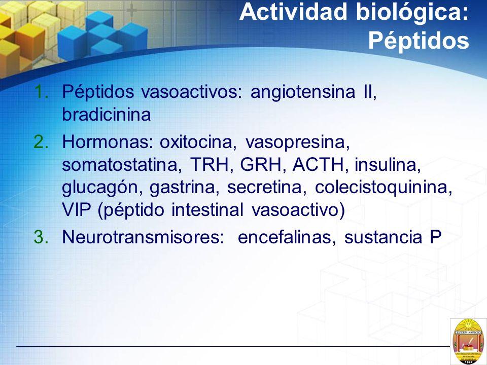 Actividad biológica: Péptidos 1.Péptidos vasoactivos: angiotensina II, bradicinina 2.Hormonas: oxitocina, vasopresina, somatostatina, TRH, GRH, ACTH,