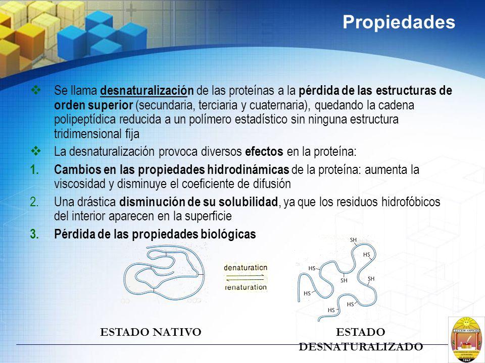 Propiedades Se llama desnaturalización de las proteínas a la pérdida de las estructuras de orden superior (secundaria, terciaria y cuaternaria), queda