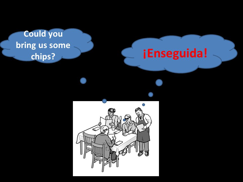 Could you bring us some chips ¡Enseguida!