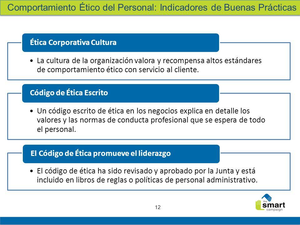 12 La cultura de la organización valora y recompensa altos estándares de comportamiento ético con servicio al cliente. Ética Corporativa Cultura Un có