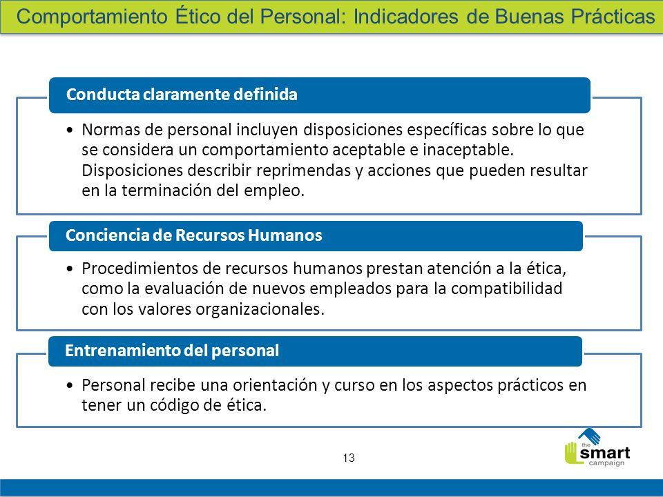 13 Normas de personal incluyen disposiciones específicas sobre lo que se considera un comportamiento aceptable e inaceptable. Disposiciones describir