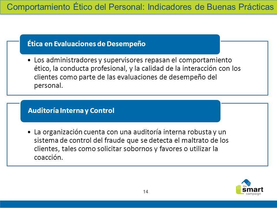 14 Los administradores y supervisores repasan el comportamiento ético, la conducta profesional, y la calidad de la interacción con los clientes como p
