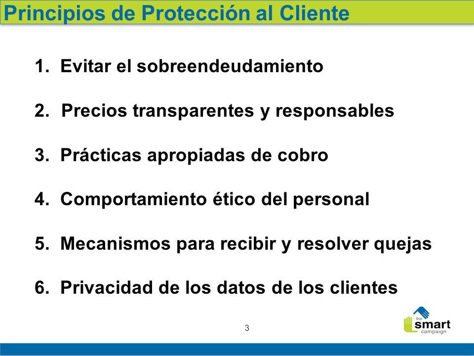 3 1. Evitar el sobreendeudamiento 2. Precios transparentes y responsables 3. Prácticas apropiadas de cobro 4. Comportamiento ético del personal 5. Mec