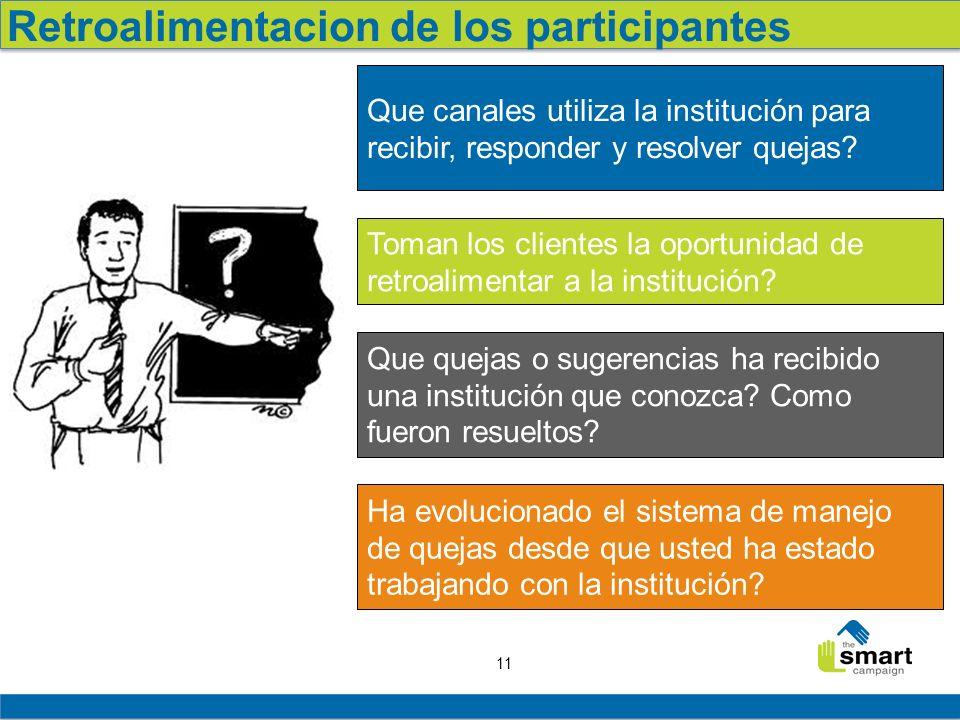 11 Retroalimentacion de los participantes Que canales utiliza la institución para recibir, responder y resolver quejas? Que quejas o sugerencias ha re