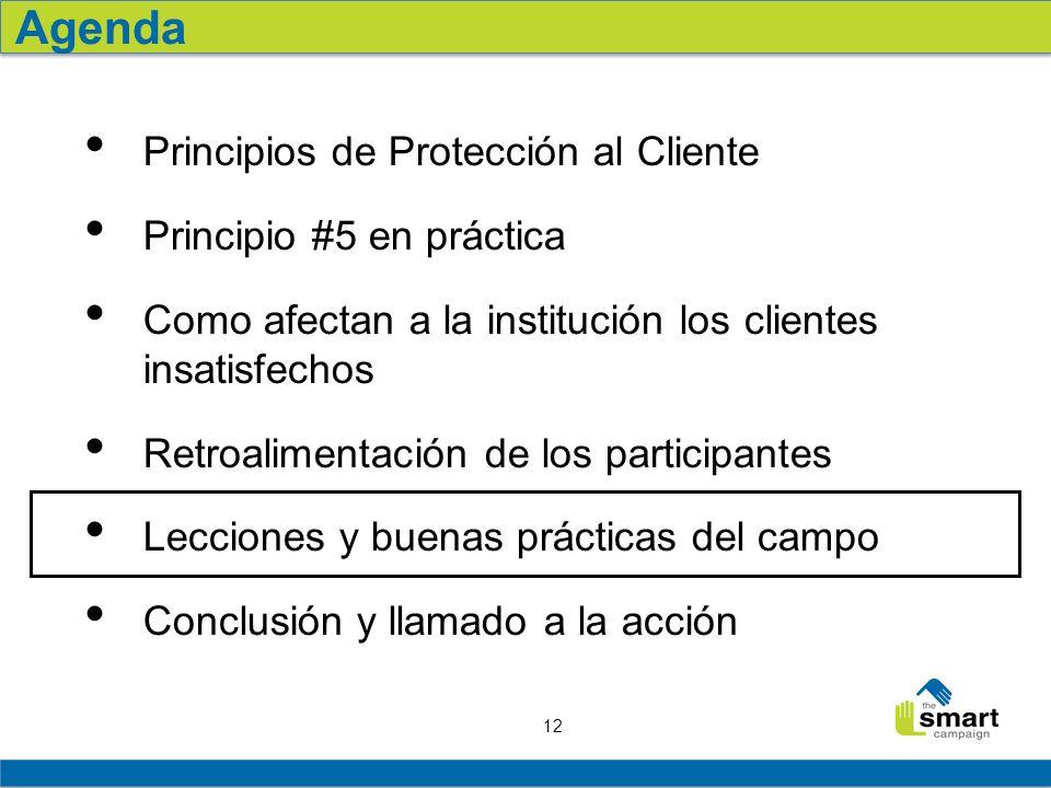12 Principios de Protección al Cliente Principio #5 en práctica Como afectan a la institución los clientes insatisfechos Retroalimentación de los part