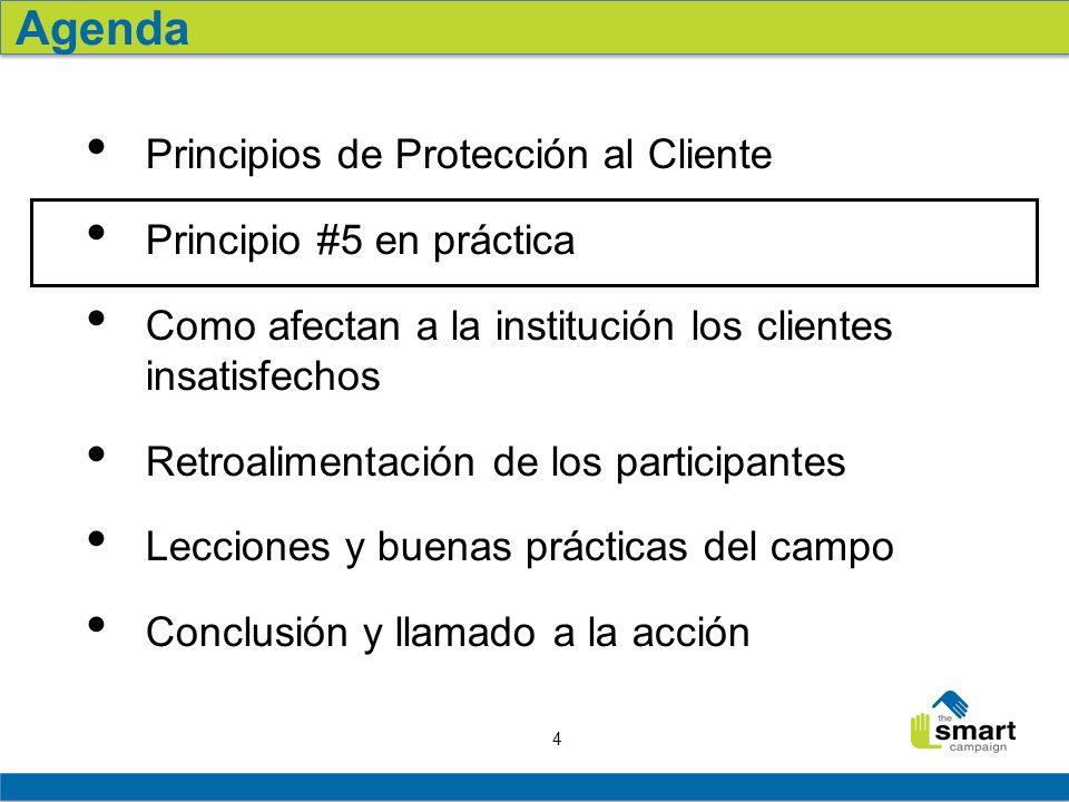 4 Principios de Protección al Cliente Principio #5 en práctica Como afectan a la institución los clientes insatisfechos Retroalimentación de los parti